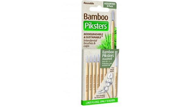 Piksters Bamboo 8 skirtingų dydžių tarpdančių šepetėliai